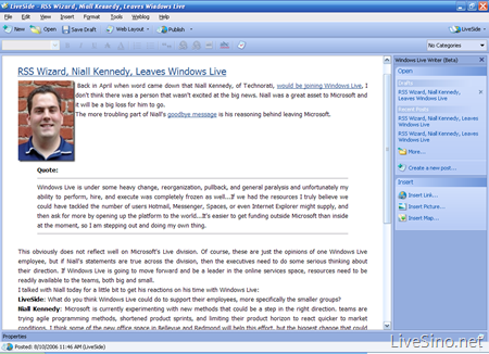 Windows Live Writer Wave1 的界面来自?