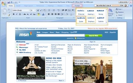 Office 2007 风格的 MSN.com