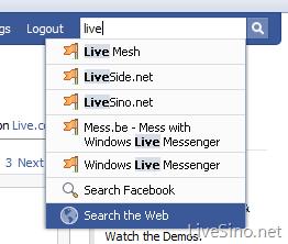 Facebook 中已整合 Live Search 搜索