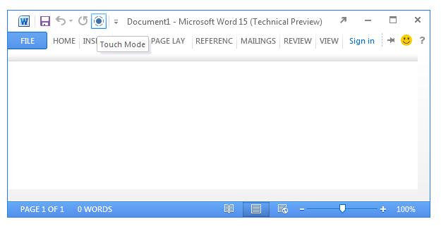 微软 Office 15 技术预览版拥有新的触控模式