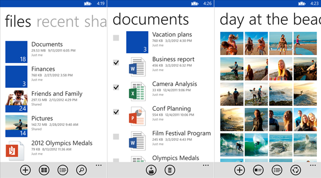 Windows Phone 版 SkyDrive 应用更新界面,支持 WP8