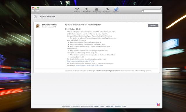 苹果发布 Mac OS X 10.8.3 更新,现提供 Windows 8 Boot Camp 支持
