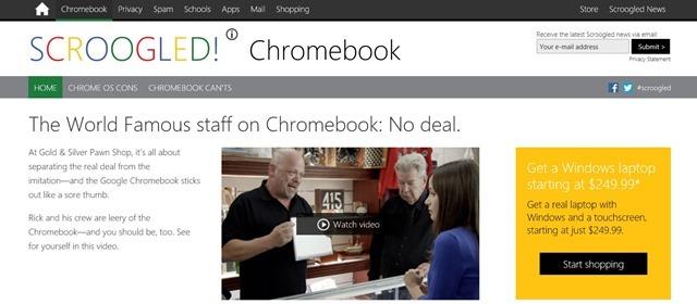 微软 Scroogled 广告最新目标 Chromebook