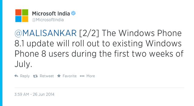 微软印度宣布 7 月前两周在印度市场推送 WP8.1