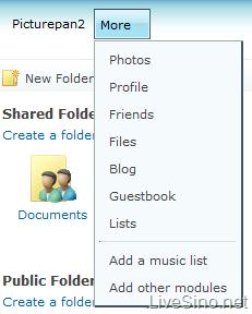 Windows Live Spaces 局部更新:增加 Files 页面